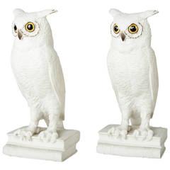 Pair of Vintage American Ceramic Owl Bookends