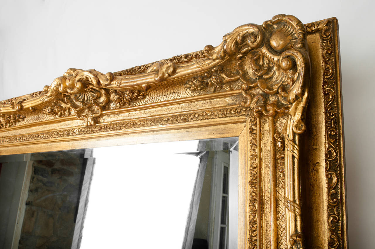 Vintage very large floor to ceiling french gilded mirror for Gold frame floor mirror