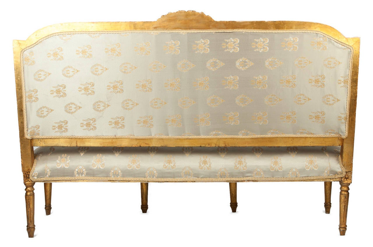 Antique louis xvi settee with original frame and gilded at 1stdibs