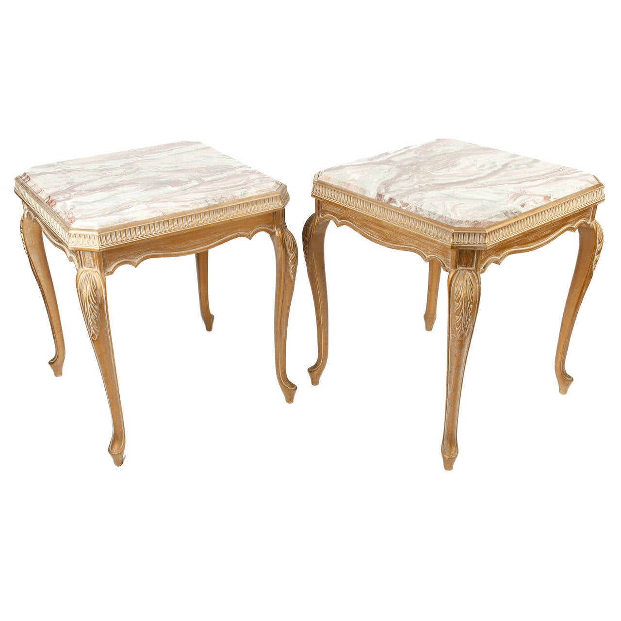 Vintage pair of italian marble top side tables at 1stdibs for Antique cream coffee table