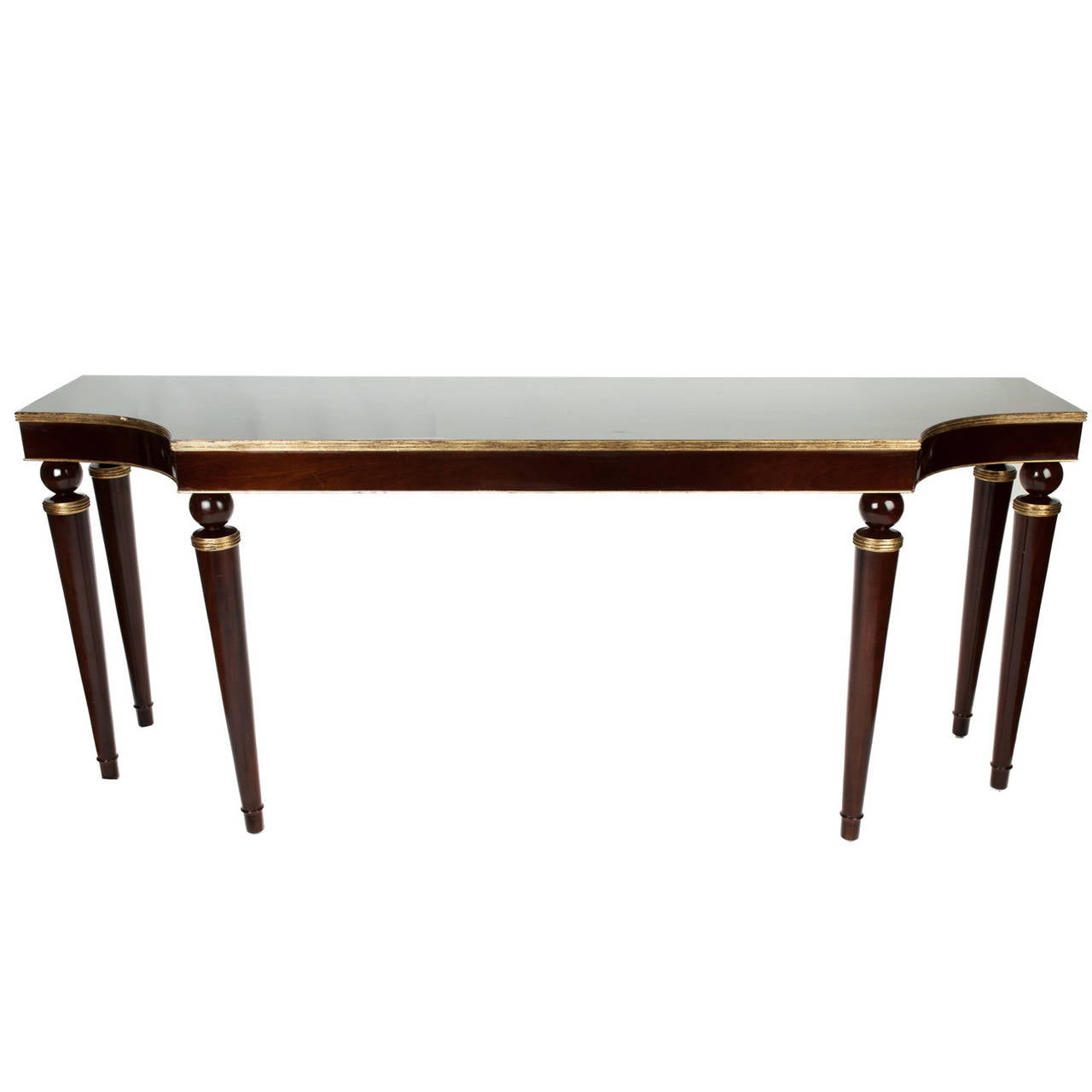 Vintage Mahogany Console Table With Gold Trim At 1stdibs