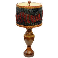 Lamp with Feather shade