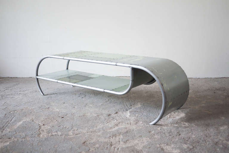Two Tier Green Scrap Metal Coffee Table At 1stdibs