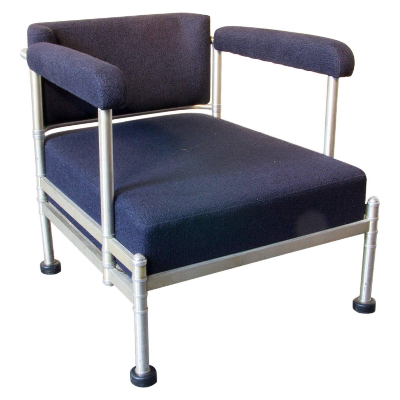 classic pair of art deco machine age aluminium lounge chairs by