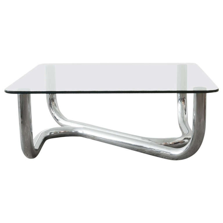 Tubular Chrome And Glass Coffee Table At 1stdibs