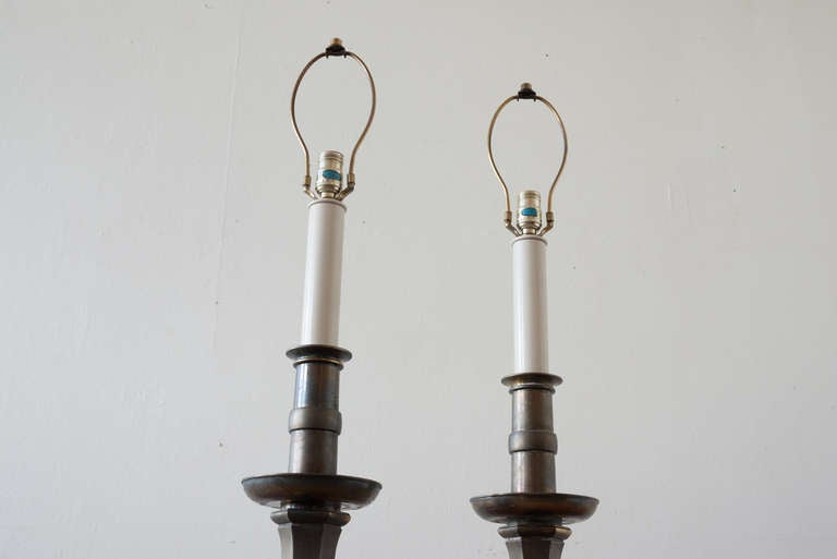 Pair of Brass Stiffel Lamps In Distressed Condition For Sale In Asbury Park, NJ
