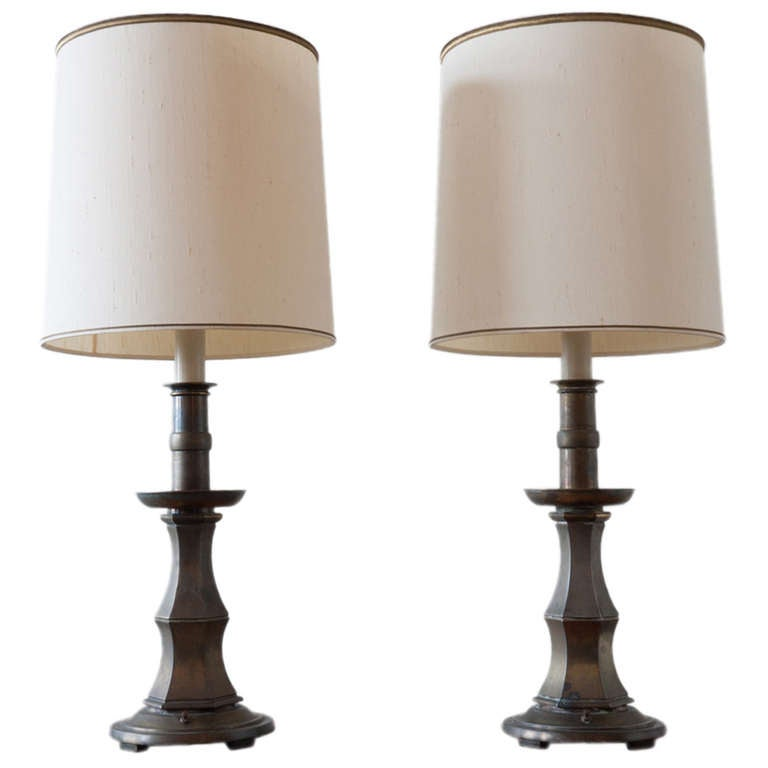 Pair of Brass Stiffel Lamps For Sale