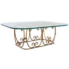 Gilded Iron and Glass Cocktail Table
