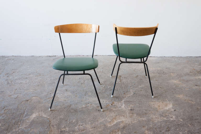 Details About Mid Century Modern Green Swivel Slipper Chairs