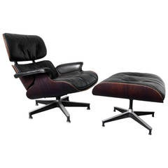 Rosewood Eames 670 Lounge Chair and 671 Footstool