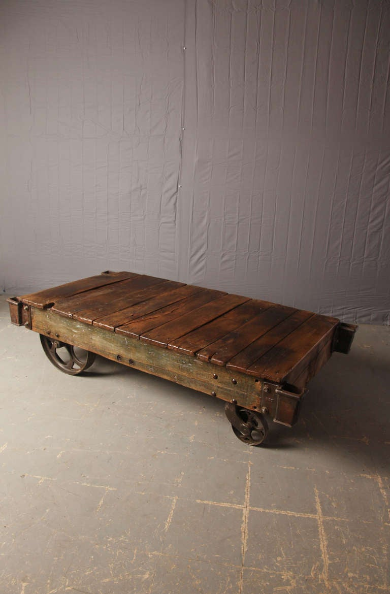 Antique Factory Cart Coffee Table 2