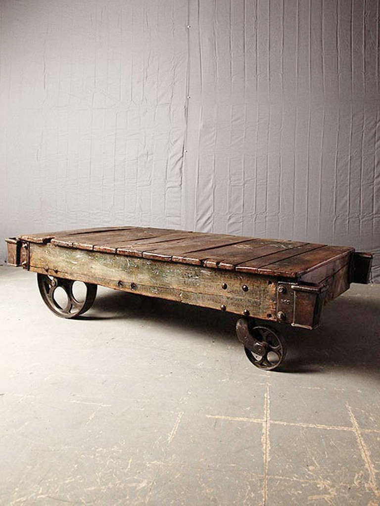Antique factory cart coffee table at 1stdibs for Cart coffee table