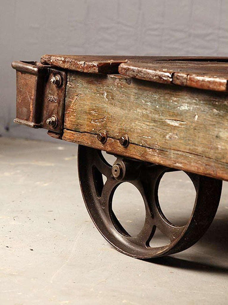 Antique factory cart coffee table at 1stdibs Antique wheels for coffee table
