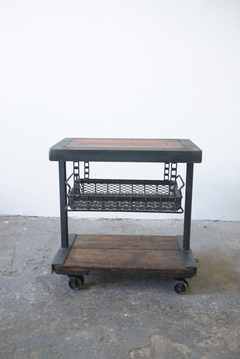 Reclaimed Industrial Side Table At 1stdibs