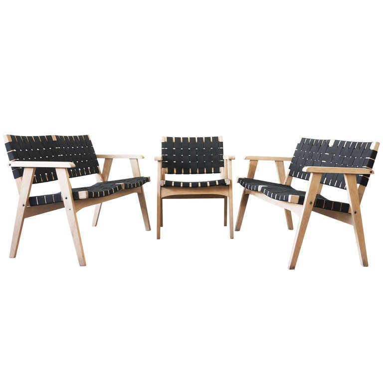 Webbed Birch Bench and Chair
