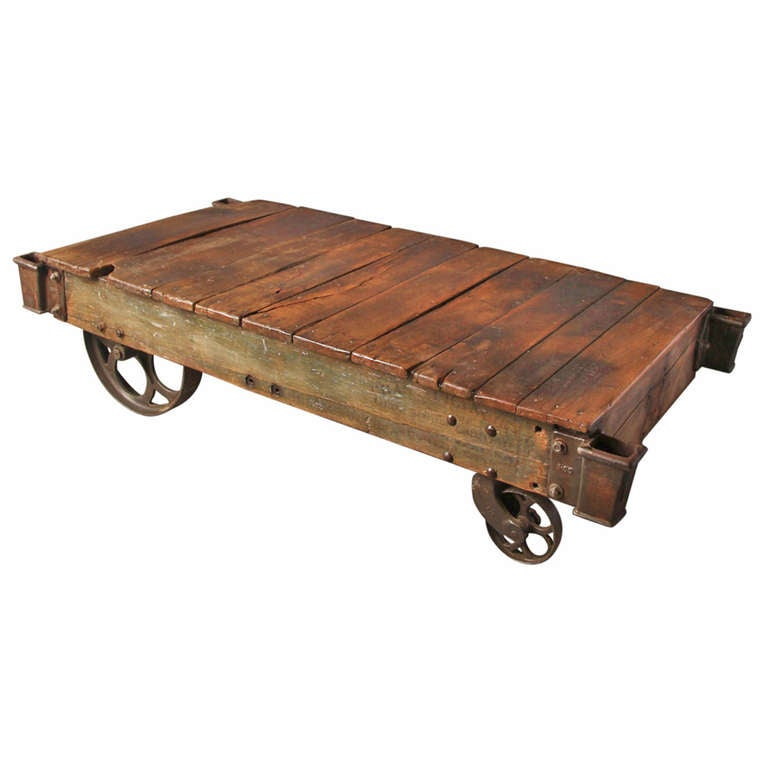 antique factory cart coffee table at 1stdibs