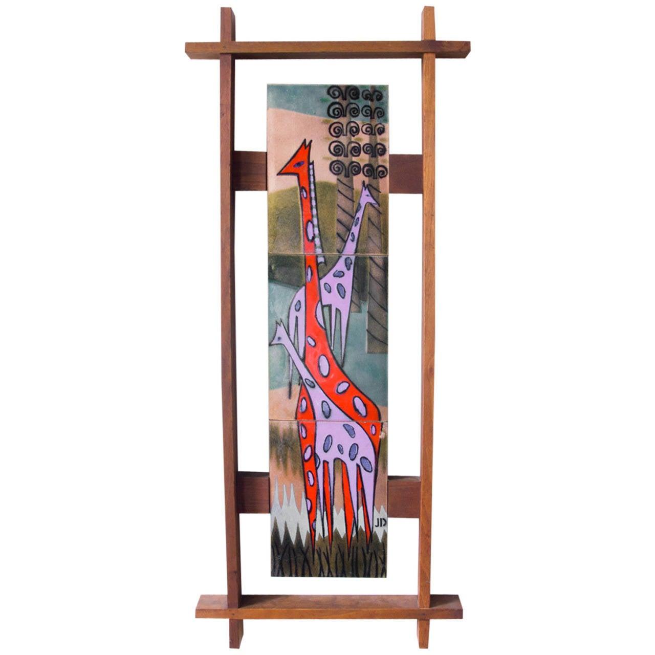 Framed Enamel Giraffe Wall Hanging