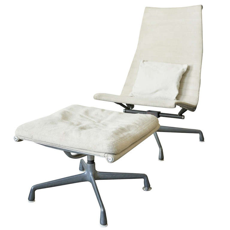 Eames Aluminum Group Lounge Chair And Ottoman At 1stdibs