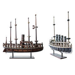 Antique Folk Art Hand-Carved Ships