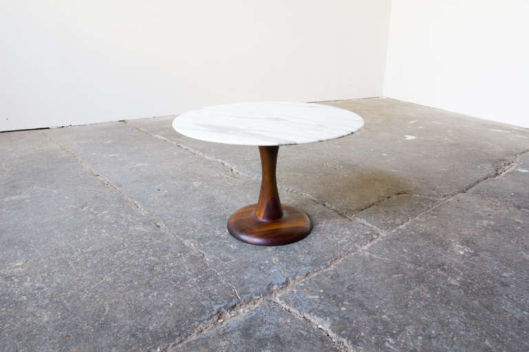 Walnut and marble side table at 1stdibs for Functional side table