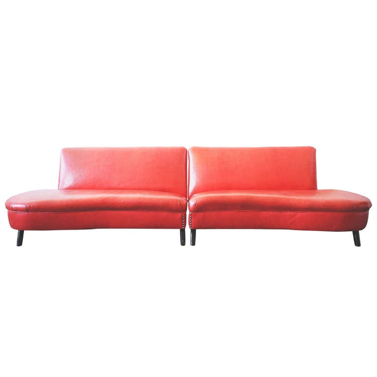 Modern Vinyl Couch at 1stdibs