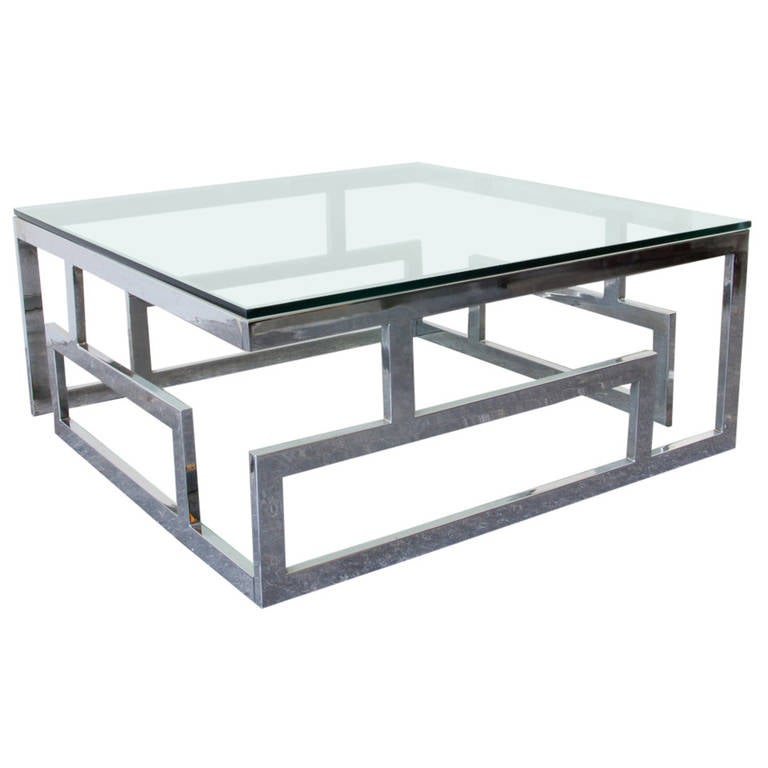 Brutalist Chrome Glass Coffee Table At 1stdibs