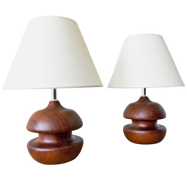 Turned Rosewood Table Lamps