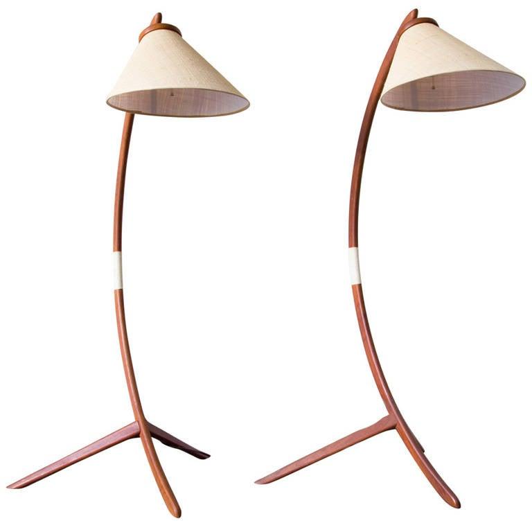 Pair of teak bow floor lamps at 1stdibs pair of teak bow floor lamps for sale aloadofball Images