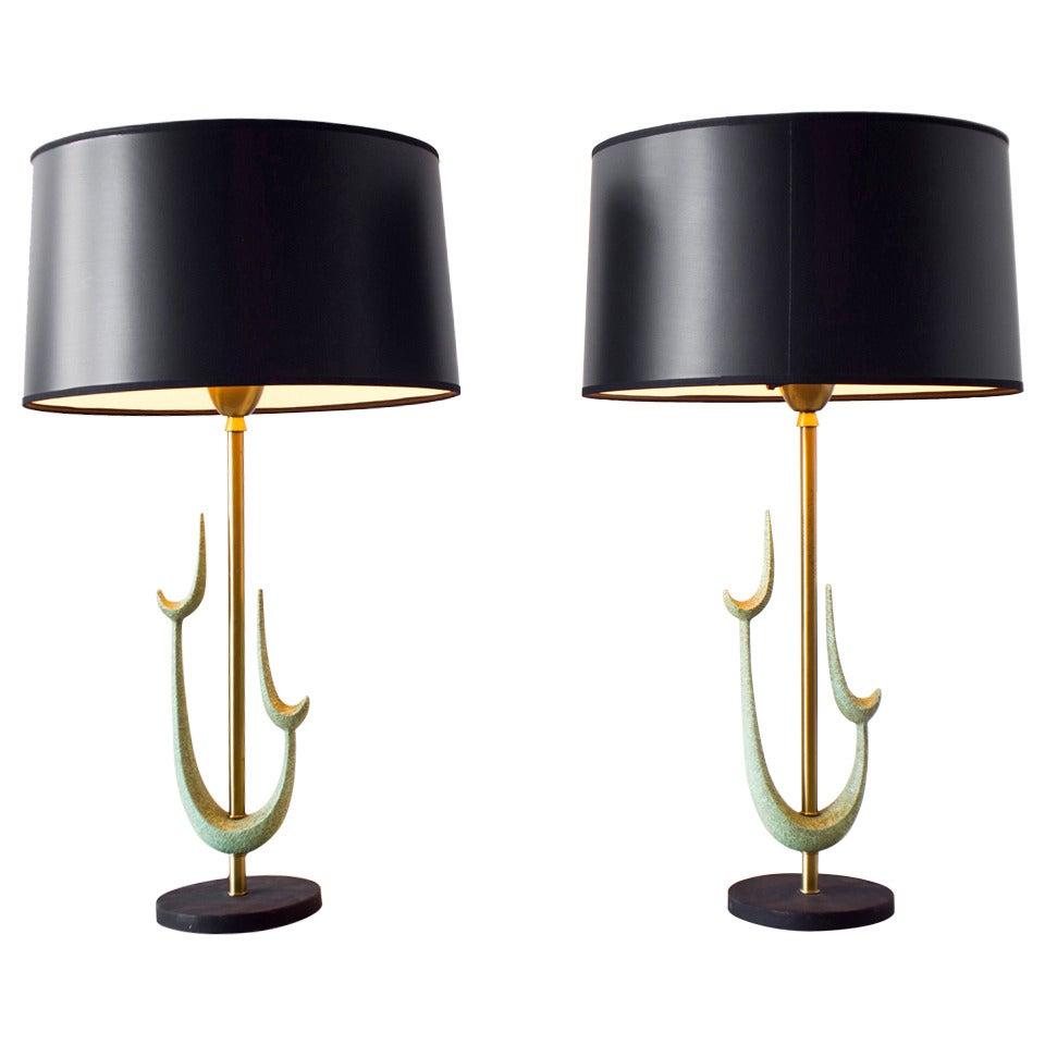 1960s Ceramic Sculpture Lamps