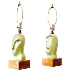 Ceramic Heifetz Picasso-Style Lamps