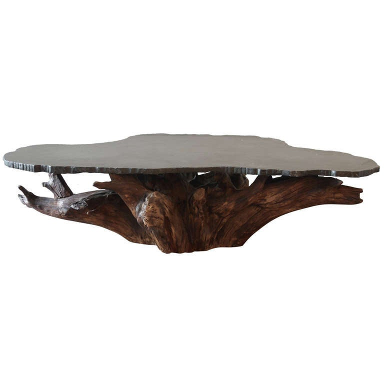 Teak Root Coffee Table Canada: Tree Root And Stone Coffee Table At 1stdibs