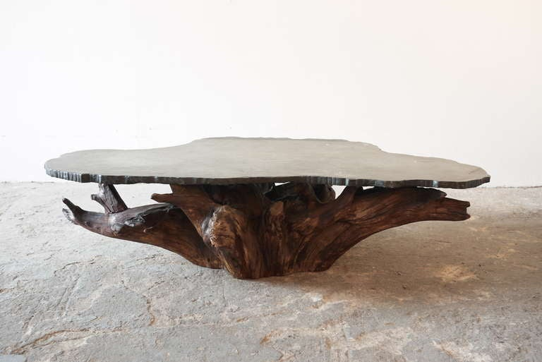 Tree root and stone coffee table at 1stdibs Stone coffee table