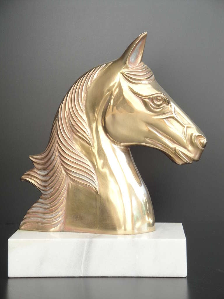 Vintage Brass Horse Bust on a marble base