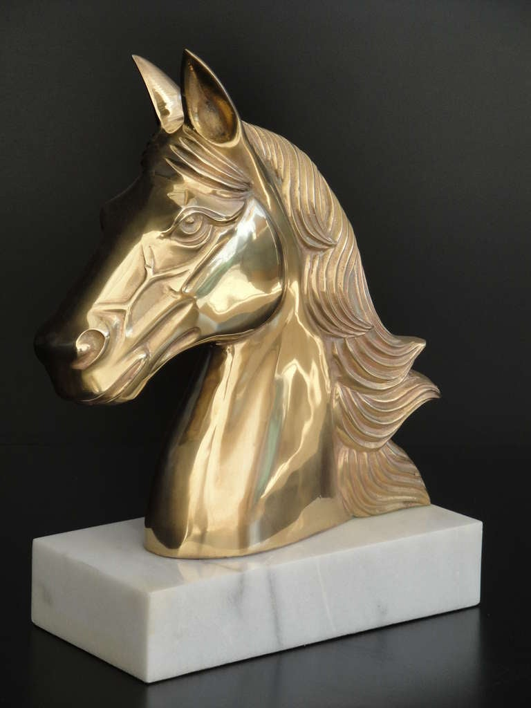 Unknown Vintage Brass Horse Head Sculpture / Bookend For Sale