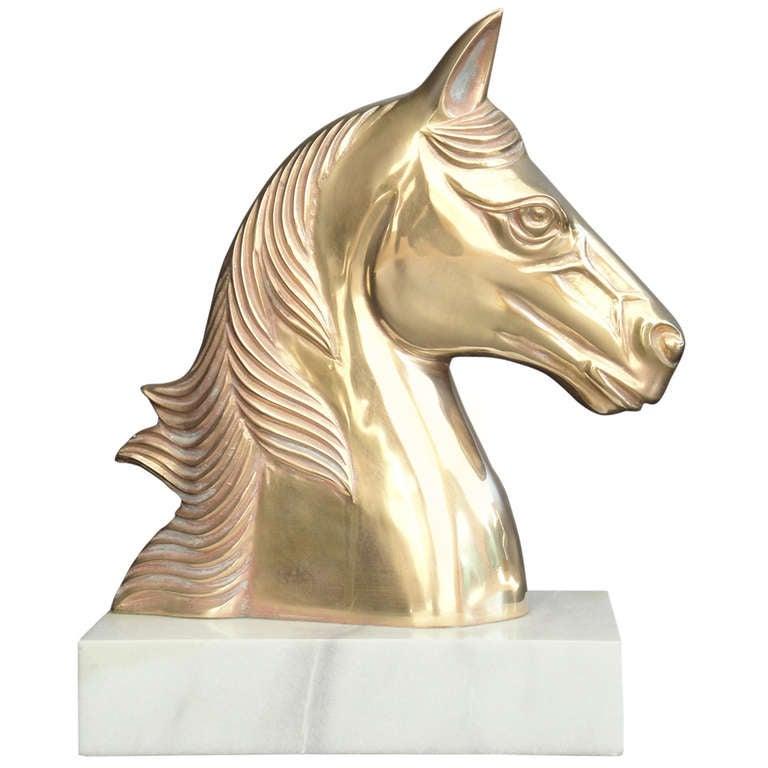 Vintage Brass Horse Head Sculpture / Bookend
