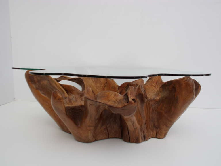 Stunning Vintage Teak Root Coffee Table With Custom Cut Glass Top For Sale At 1stdibs
