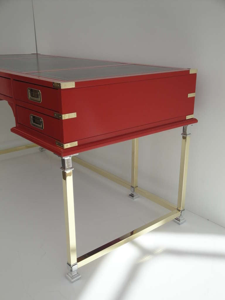 beautiful hollywood regency red campaign executive desk at