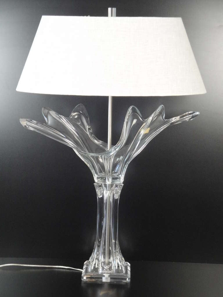 stunning french crystal art verrier lamp for sale at 1stdibs. Black Bedroom Furniture Sets. Home Design Ideas