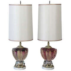Pair of Vintage Murano Cranberry Glass Lamps with Gold Flakes