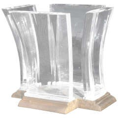 Monumental Jeffrey Bigelow Bronze and Lucite Dining Table Base