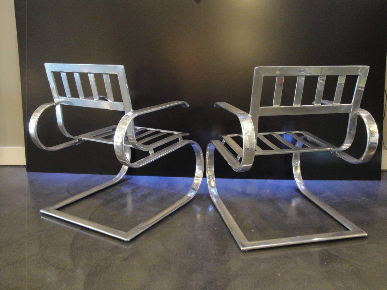 Pair of Aluminum Lounge Chairs and Ottoman For Sale at 1stdibs