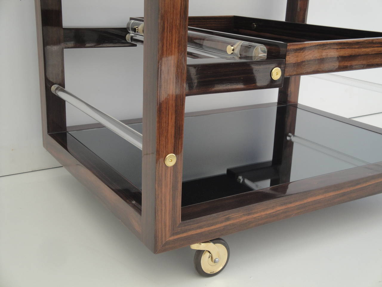 Art Deco Style Solid Macassar Ebony Rolling Bar Cart At