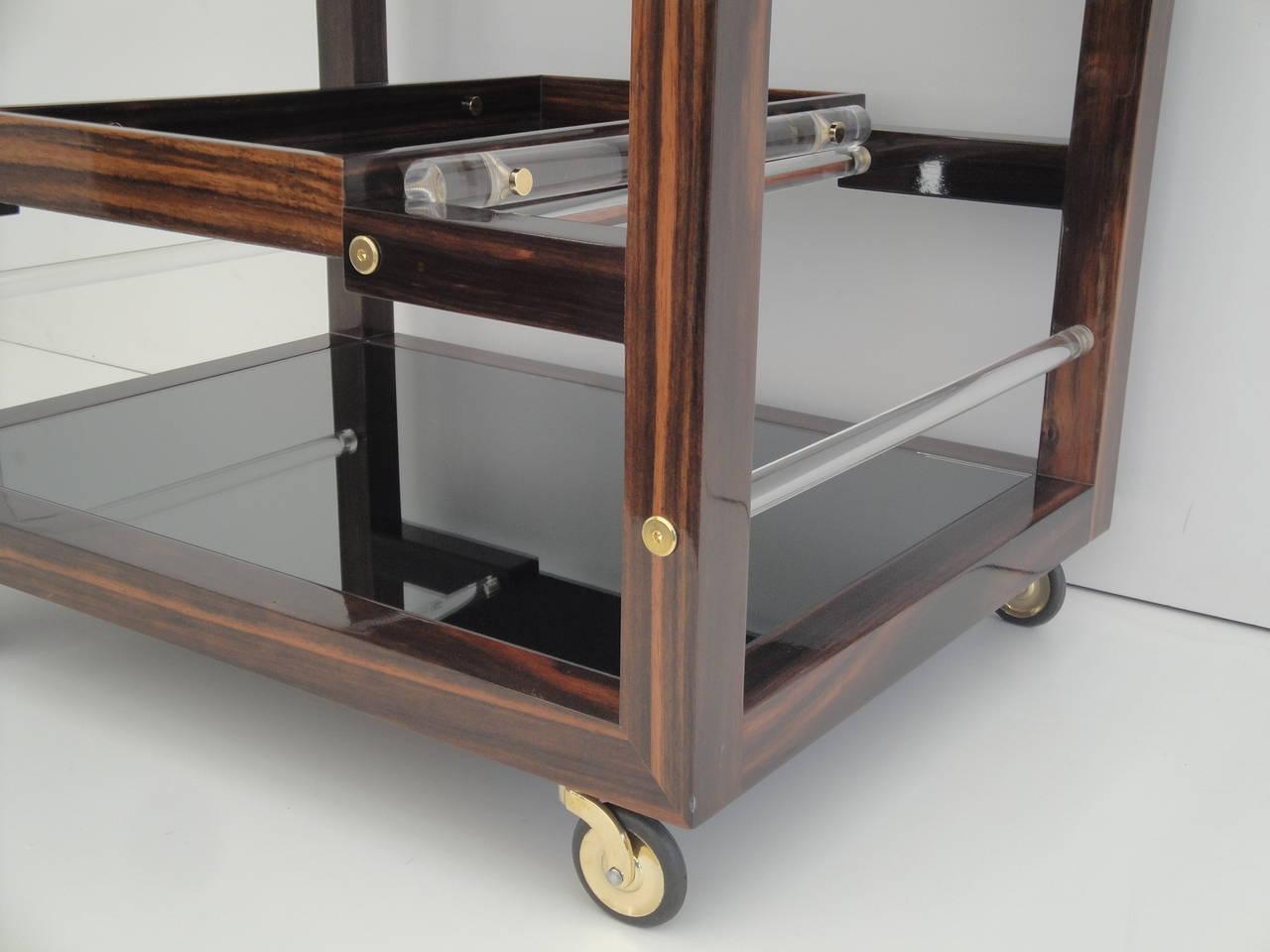 Art Deco Style Solid Macassar Ebony Rolling Bar Cart For