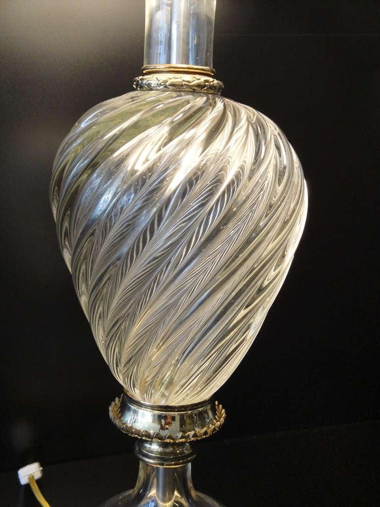 Pair Venetian Murano Glass Lamps By Marbro At 1stdibs