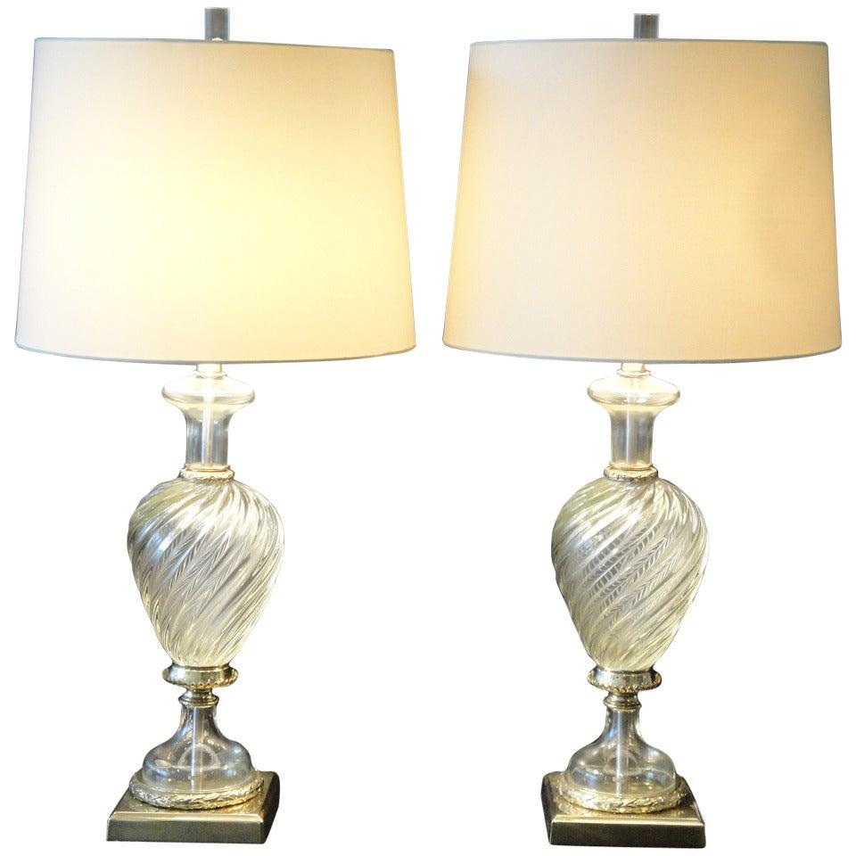 Pair Venetian Murano Glass Lamps by Marbro