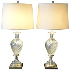 Pair Venetian Murano Glass Lamps by Marbro