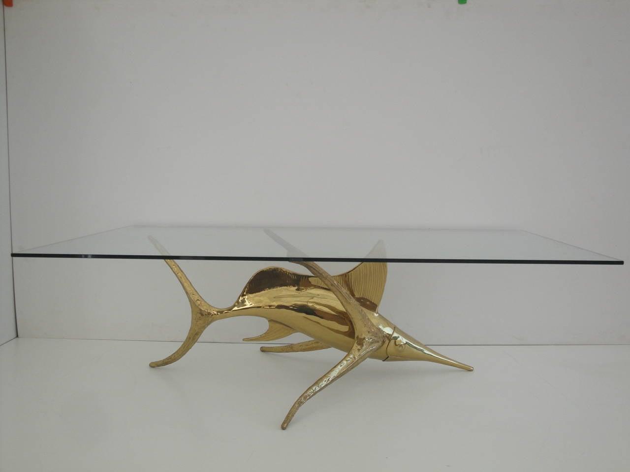 signed alain chervet brass dolphin coffee table base for sale at 1stdibs. Black Bedroom Furniture Sets. Home Design Ideas