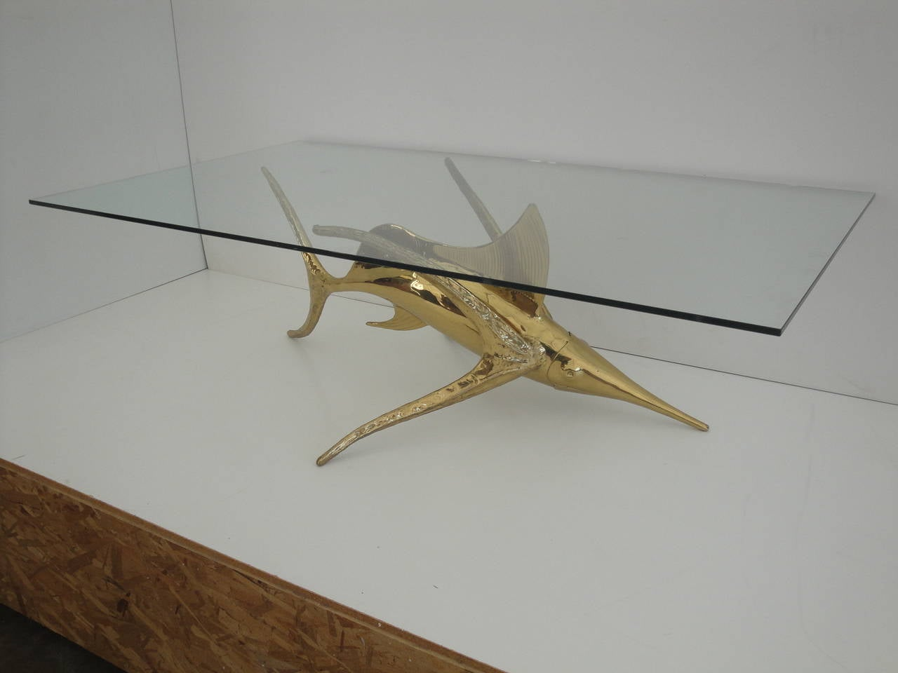 Signed Alain Chervet Brass Dolphin Coffee Table Base At 1stdibs