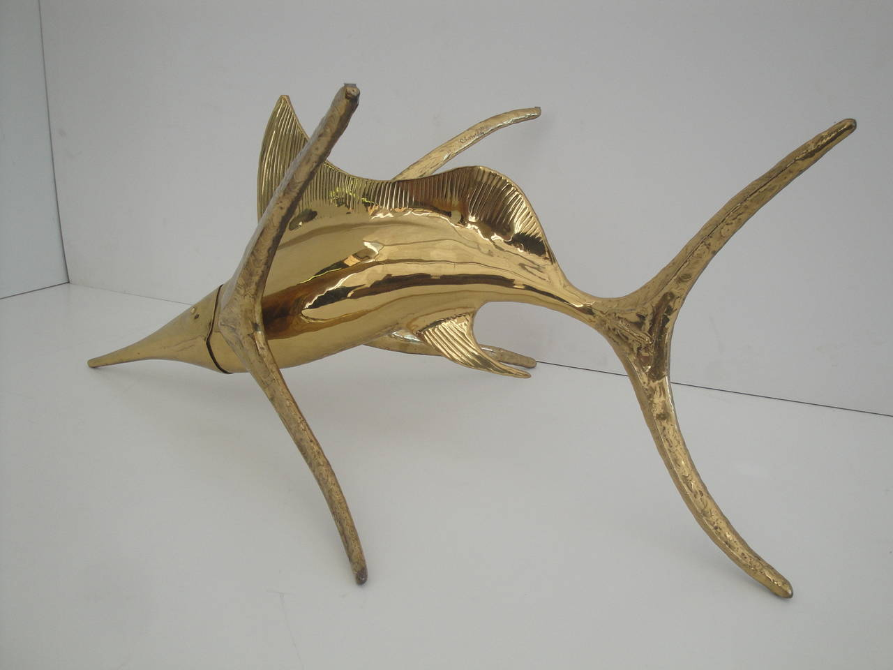 Signed Alain Chervet Brass Dolphin Coffee Table Base For Sale At 1stdibs