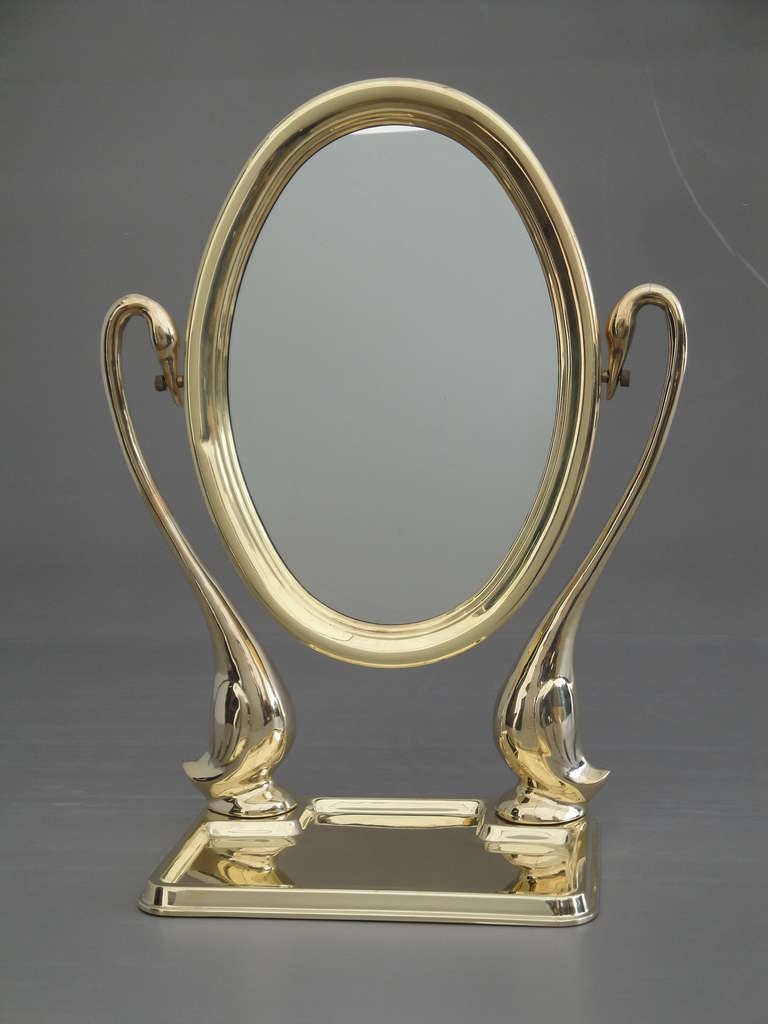 Polished Brass Swan Vanity Mirror For Sale At 1stdibs